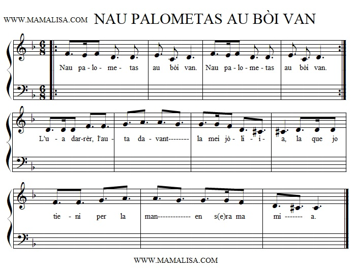 Sheet Music - Nau palometas au bòi van