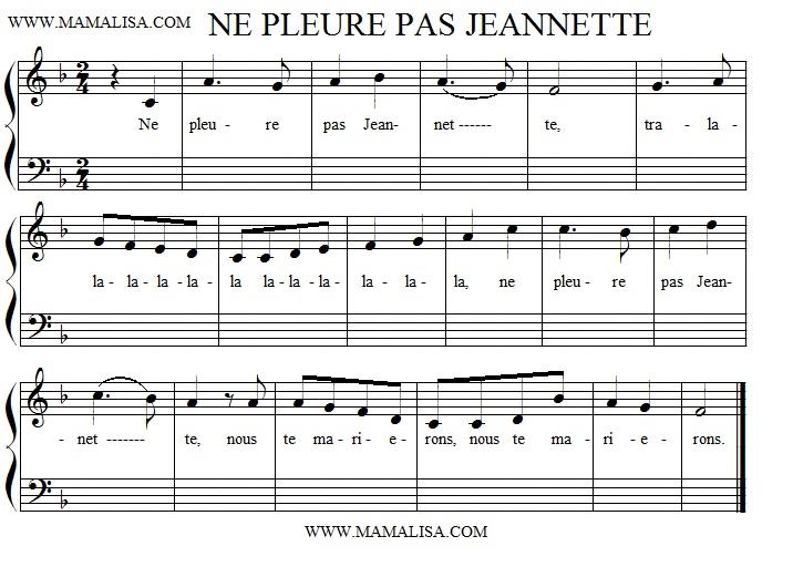 Partitura - Ne pleure pas, Jeannette