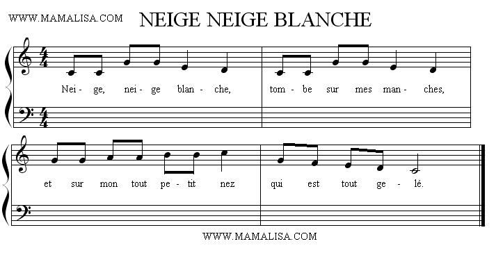 Partition musicale - Neige, neige blanche