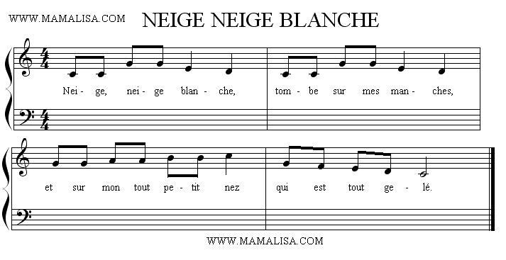 Sheet Music - Neige, neige blanche