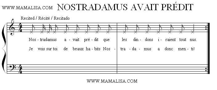 Sheet Music - Nostradamus avait prédit