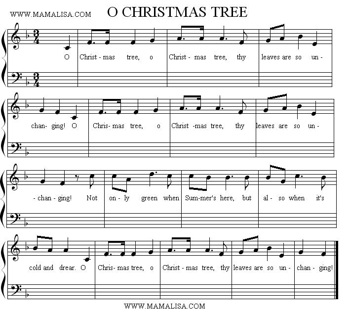 Sheet Music - O Christmas Tree