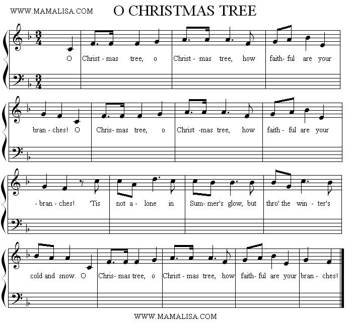 Sheet Music - O Christmas Tree (Short Version)