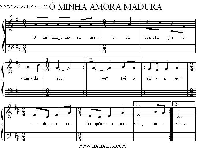 Partition musicale - Ó minha amora madura