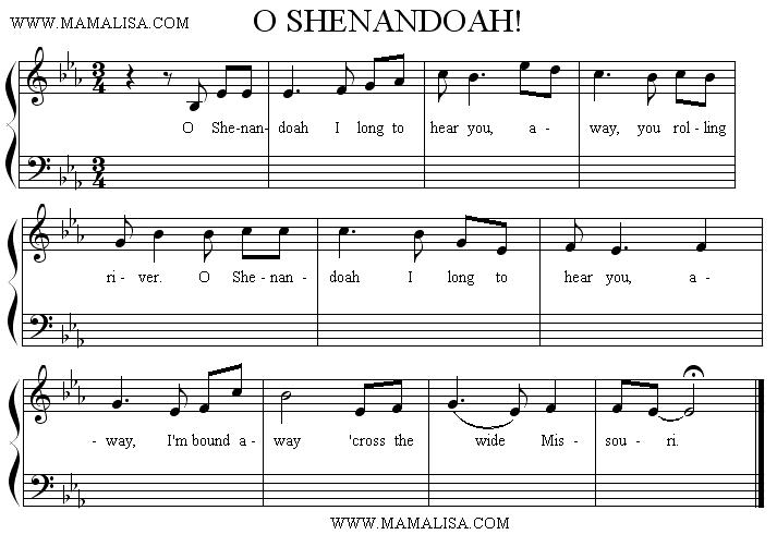 Sheet Music of Shenandoah - American Children's Songs - The USA - Mama Lisa's World: Children's Songs and Rhymes from Around the World