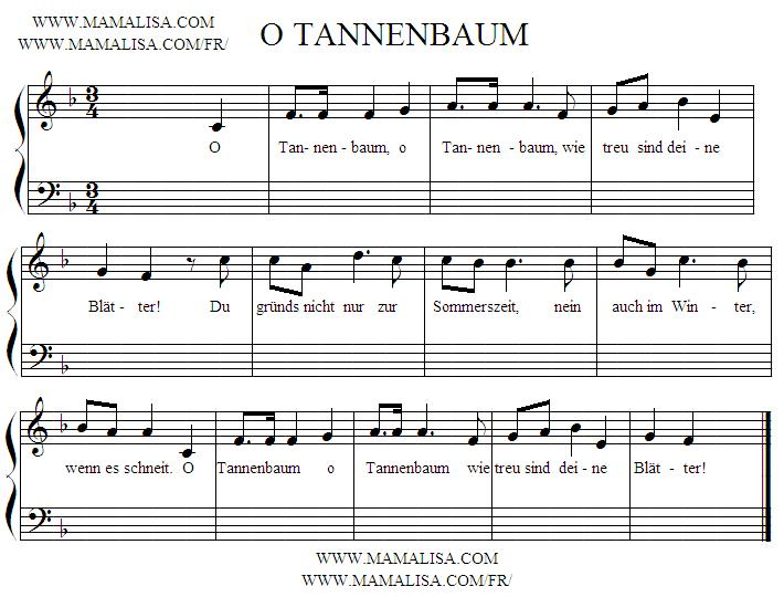 Sheet Music - O Tannenbaum