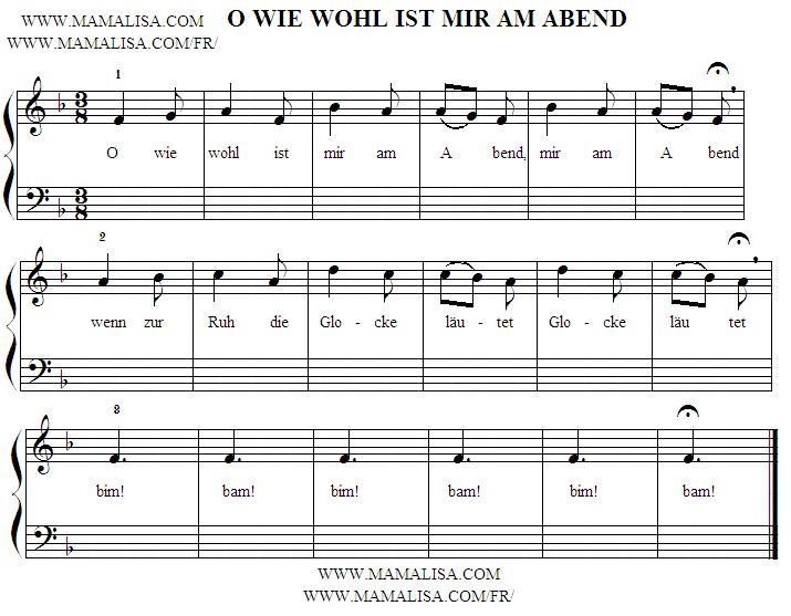 Sheet Music - O wie wohl ist mir am Abend