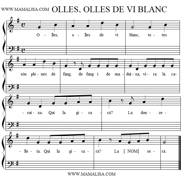 Partition musicale - Olles, olles