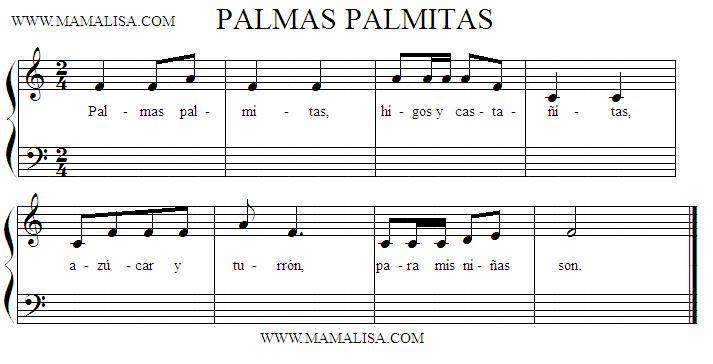 Partition musicale - Palmas palmitas