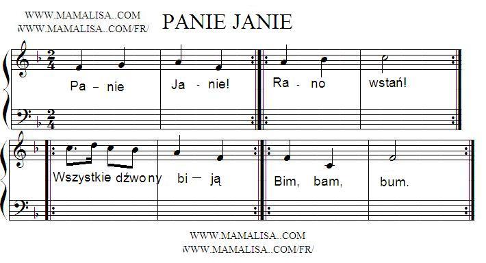 Partition musicale - Panie Janie