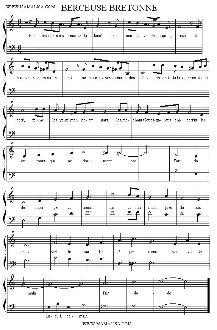 Partition musicale - Par les chemins creux de la lande