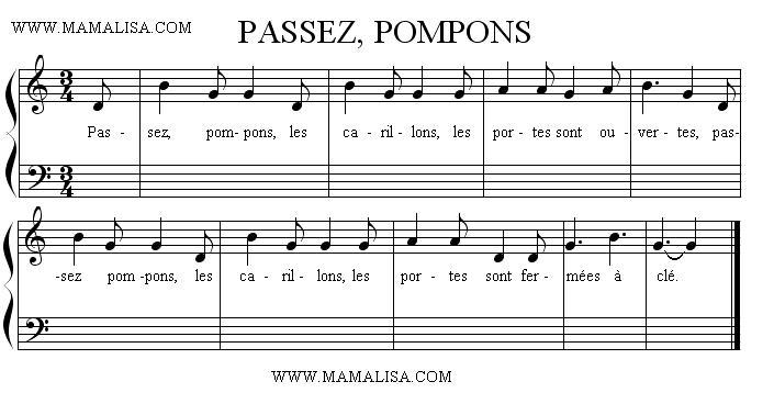 Partition musicale - Passez pompons