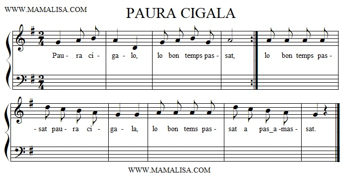 Sheet Music - Paura cigala