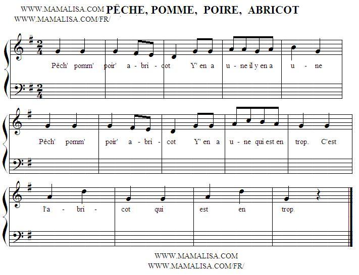 Sheet Music of Pêche, pomme, poire, abricot - Chansons enfantines françaises - France - Mama Lisa's World en français: Comptines et chansons pour les enfants du monde entier