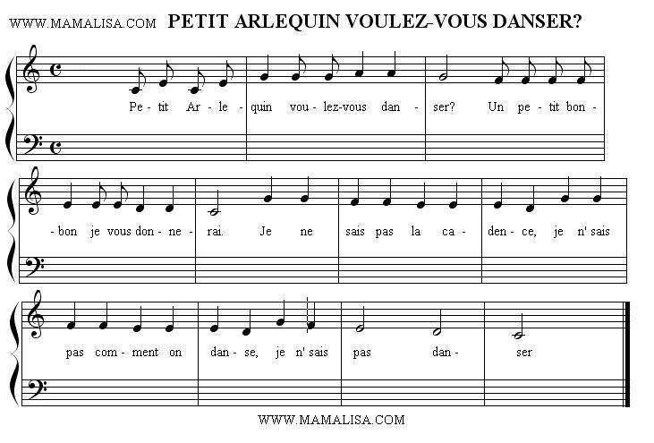 Partition musicale - Petit Arlequin voulez-vous danser ?