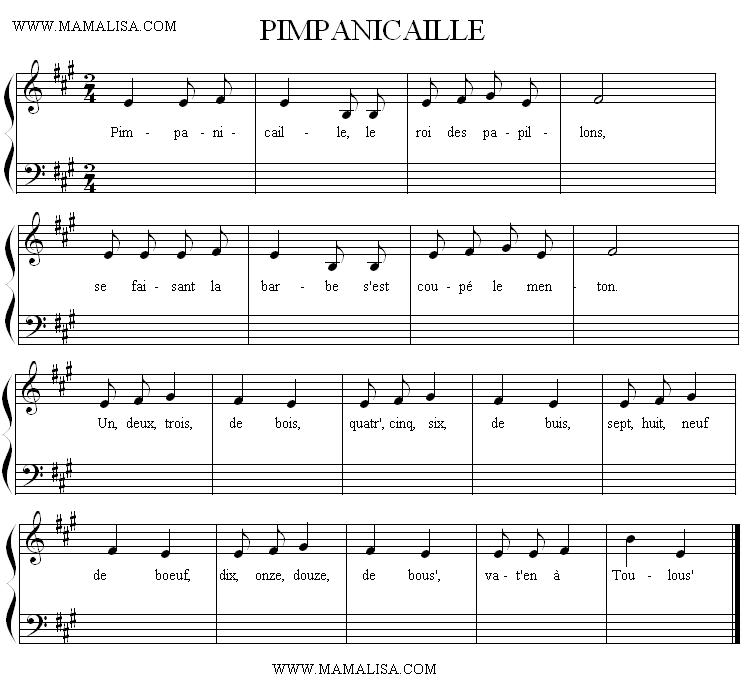Sheet Music - Pimpanicaille
