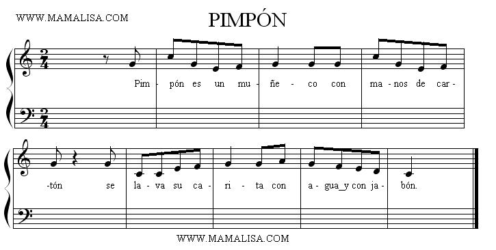 Partition musicale - Pin Pon