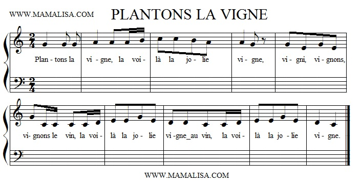 Sheet Music - Plantons la vigne