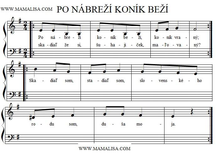 Sheet Music - Po nábreží koník beží