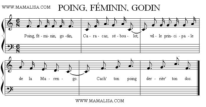 Partition musicale - Poing, féminin, godin