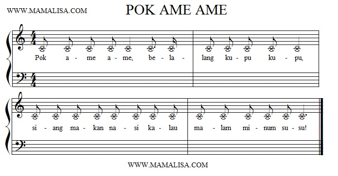 Partition musicale - Pok Ame Ame