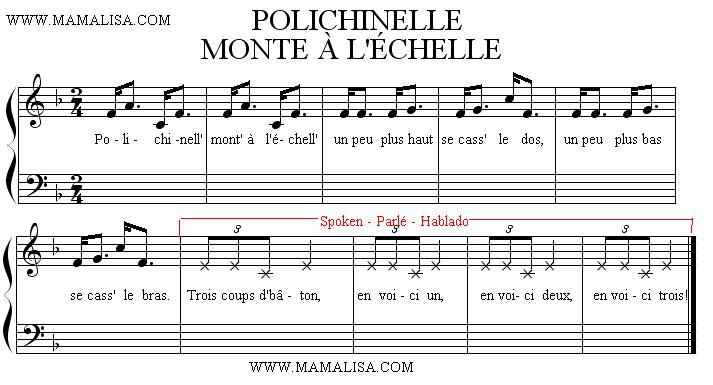 Sheet Music of Polichinelle monte à l'échelle - French Children's Songs - France - Mama Lisa's World: Children's Songs and Rhymes from Around the World