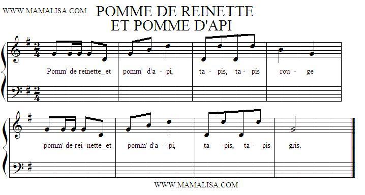 Sheet Music of Pomme de reinette et pomme d'api - Chansons enfantines françaises - France - Mama Lisa's World en français: Comptines et chansons pour les enfants du monde entier