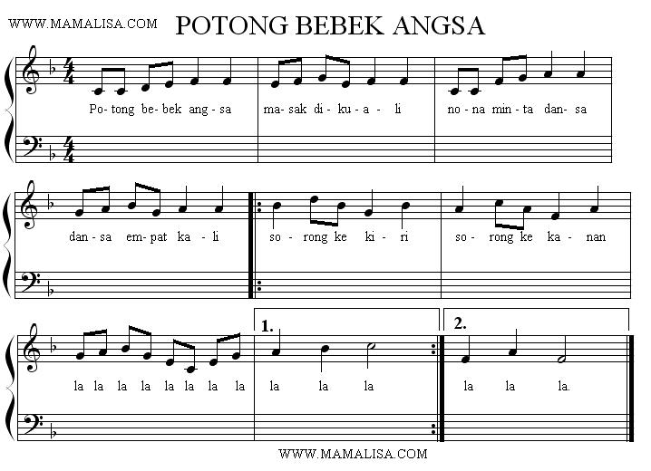Sheet Music - Potong Bebek Angsa
