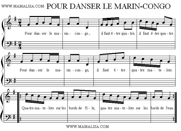 Partition musicale - Pour danser le marin-congo