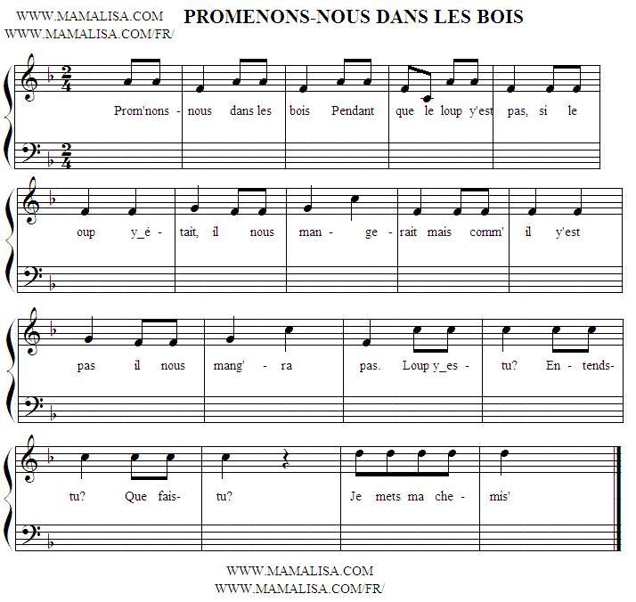 Sheet Music - Promenons-nous dans les bois