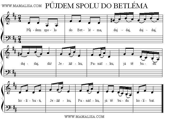 Sheet Music - Půjdem spolu do Betléma