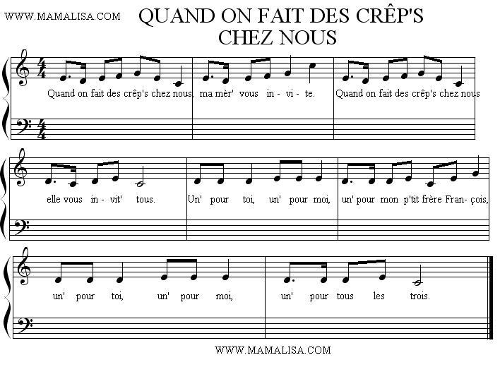 Sheet Music of Quand on fait des crêp's chez nous - Chansons enfantines françaises - France - Mama Lisa's World en français: Comptines et chansons pour les enfants du monde entier