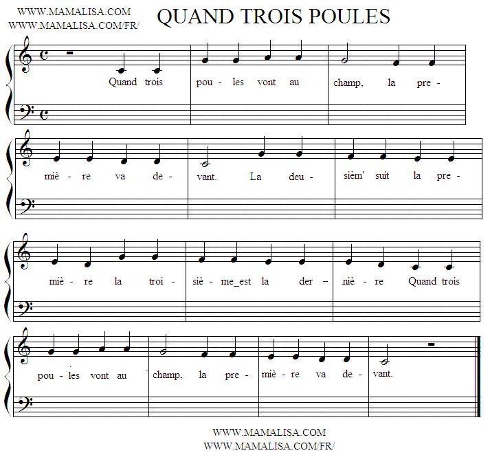 Sheet Music - Quand trois poules