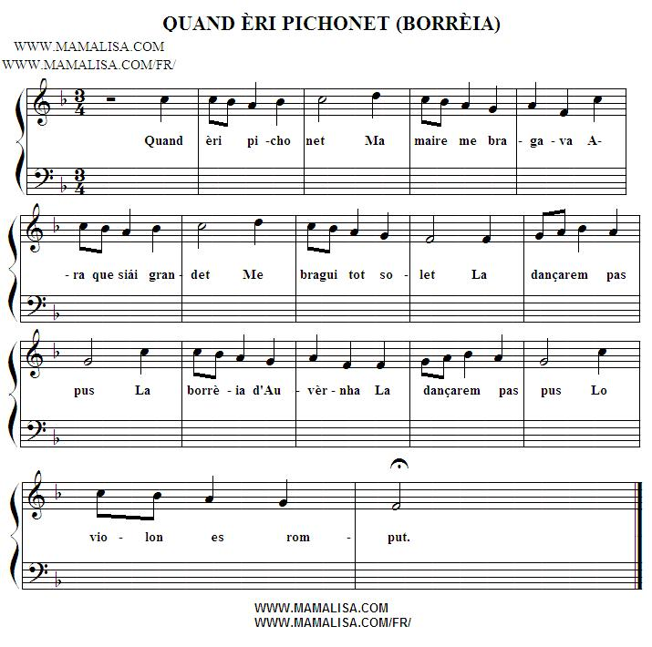 Partition musicale - Quand èri pichonet