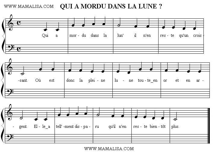 Partition musicale - Qui a mordu dans la lune