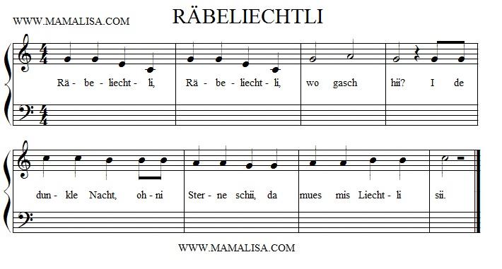 Sheet Music - Räbeliechtli