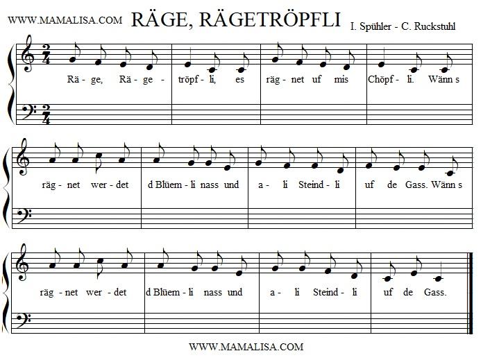 Partition musicale - Räge, Rägetröpfli