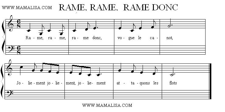Partition musicale - Rame, rame, rame donc