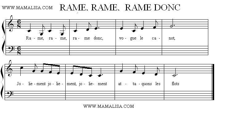 Sheet Music - Rame, rame, rame donc