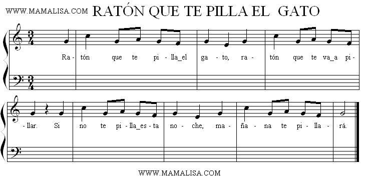 Partition musicale - Ratón que te pilla el gato