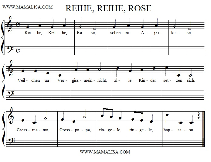 Sheet Music - Reihe, Reihe, Rose