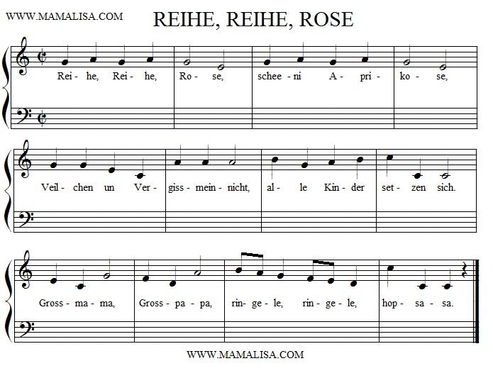 Sheet Music - Reihe, Reihe, Rose