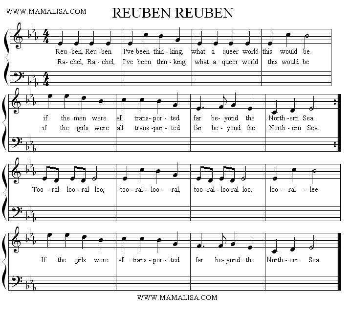 Sheet Music - Rubin, Rubin, I've Been Thinking