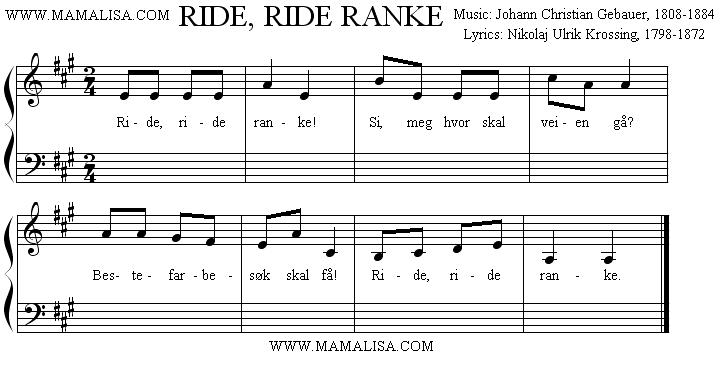 Partition musicale - Ride ride ranke