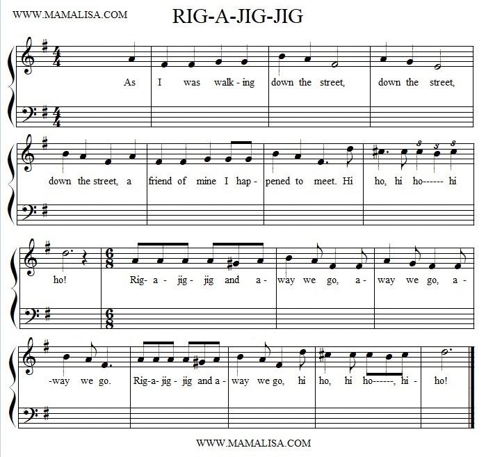 Sheet Music - Rig a Jig Jig