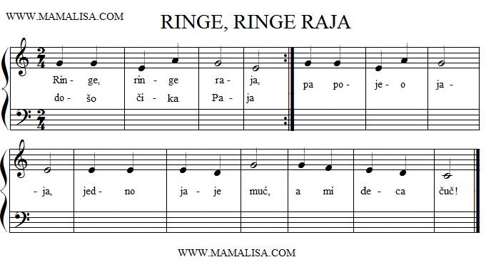 Sheet Music - Ringe, Ringe, Raja