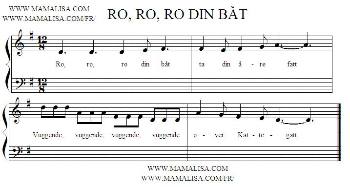 Sheet Music - Ro, ro, ro din båt