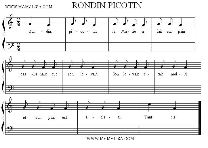 Sheet Music - Rondin, picotin