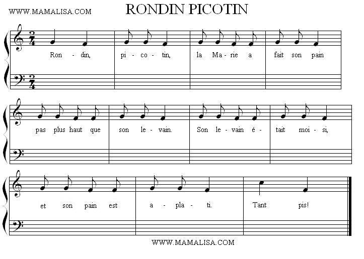 Sheet Music - Rondin, picotin