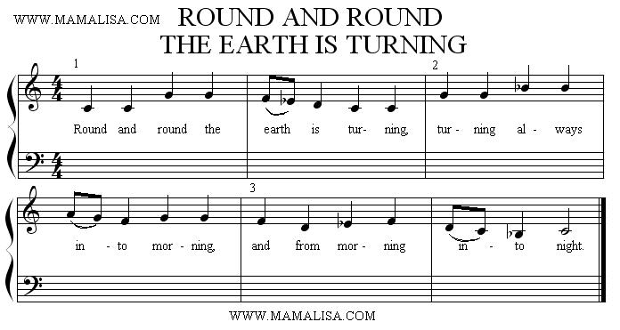 Sheet Music - Round and Round the Earth is Turning